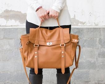 Leather messenger bag - laptop messenger bag - Satchel bag - Leather briefcase - MELINA bag