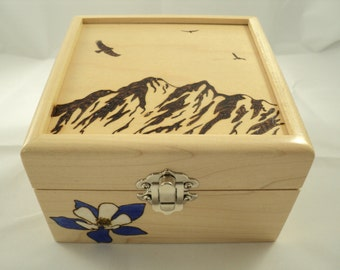Maple Wood Woodburned Mountain and Columbine Keepsake Jewelry or Memory Box
