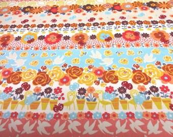 SALE Japanese Fabric Flower Bird Stripe Pink 1 yard S6-10