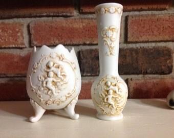 Vintage Leftons Exclusive Porcelain Cherub Vase & Planter ( Egg )