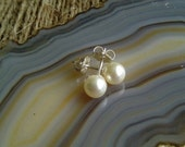 Sterling Silver Studs with Swarovski Pearls, Wedding, Prom, Pearl Earrings, 925 Silver Studs