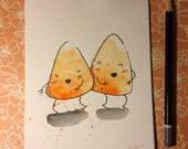 "Halloween Watercolor Painting ""Dancing Candy Corn"", 5x7 inches decoration."