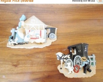 ON SALE Vintage Set of Burwood Products Co. Amish Inspired Plastic Wall Hangings  Art  Buggy Horse Boy Girl  Dog