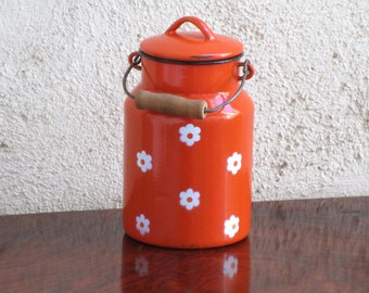 Vintage French Enamel ORANGE Milk Jug, French Vintage Enamelware, Vintage Kitchenalia - authentic French Farmhouse Rustic Chic