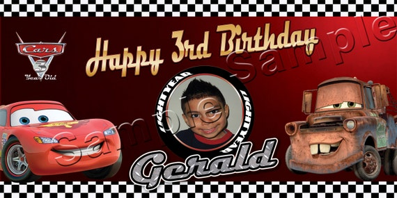 Disney Pixar's Cars Personalized Large 2x4 Birthday Banner