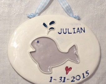 Personalized Baby Whale Nursery Decor, New Baby Gift, Personalized nursery decor, Baby Name Decor, Gift for Baby, Personalized Baby Tile
