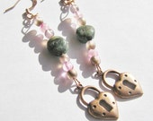Natural Emerald Dangle Earrings with Pink Czech Glass Beads and Copper Heart Shape Locket