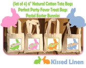 """Personalized Pastel Easter Bunny Rabbit Party Favor Treat Birthday Bags -  Mini 6x6"""" Natural Cotton Totes Kids Party Bags - Set of 4"""