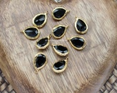 black cz crystal teardrop charm gold plated drop 18mm pendant faceted turkish supplies nickel free lead free