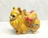 Josef Originals Made In Japan Dog Figurine Brown Pomeranian With Red Bows Stickers Included
