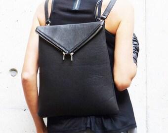 NEW Genuine Leather Black  BagPack  / High Quality  asymmetrycal zipper Bag by AAKASHA A14413