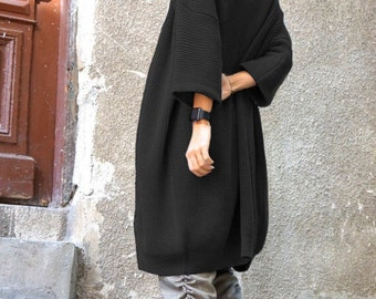 NEW Oversize Black Midi Sleeve Fully Knit  Vest / Fully Knit Top / Maxi Open Overall / Soft and Comfortable by  AAKASHA A06351