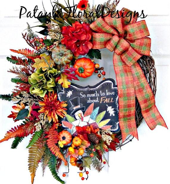 Decorating Ideas > Items Similar To Thanksgiving Wreath, Fall Wreath  ~ 070224_Thanksgiving Decorations On Etsy