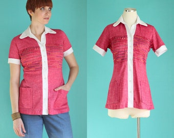 Vintage 70s Short Sleeve Blouse - Pink Top - Rainbow Stripe Shirt - Long Tunic Shirt - Ruched Shirt - Gay Pride Shirt - Size Small / Medium