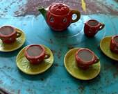 Vintage Halloween 1920s Miniature Bisque China Jack o Lantern Pumpkin Child's Toy Tea Set Halloween Decor Primitive Display