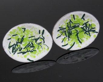 Green Enamel Spatter Cufflinks Large Vintage Jewelry H810