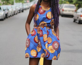 Tiwo - Ready to Ship - African Ankara Wax Print Mini Dress