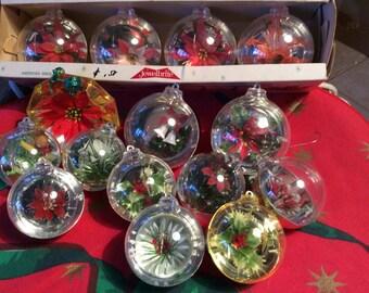 Plastic Diorama Christmas Ornament Lot of 15 vintage