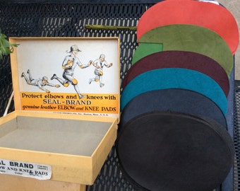 Vintage Sewing Notions Leather Elbow Patches Colored with Box