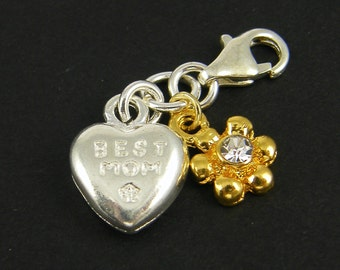 "Mom Charm in Silver and Gold Plate with Silver ""Best Mom"" Heart Gold Flower Charm Clear Rhinestone Detachable Pendant with Clasp 