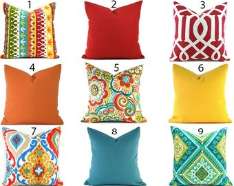 Outdoor Pillows Outdoor Pillow Covers Decorative Pillows ANY SIZE Pillow Cover Red Pillows Turquoise Pillows You Choose