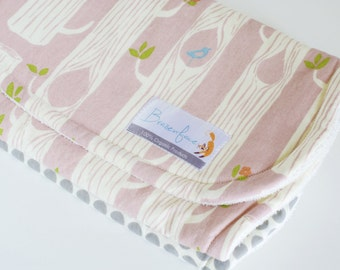 Organic Burp Cloth Set of Two / Woodland Pink and Grey Dottie