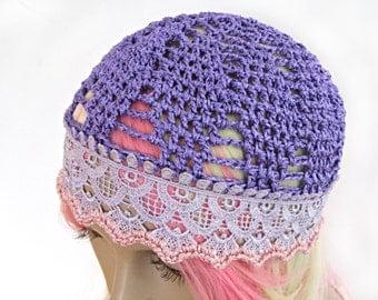 Purple lace hat/ Women Crochet hat - lilac summer beanie hat-women CROCHET CAP/ hats, skull caps/chemo skullcap/fashionable hats by ZAPrix
