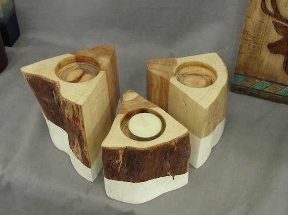Candleholders modern rustic wooden candle holders by