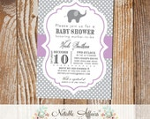 Gray and Lavender Polka Dot Elephant Modern Baby Shower Birthday Invitation - colors can be changed