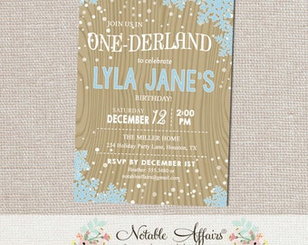 Winter Onederland Snowflakes with Snow on Wood background - Birthday Party invitation - any age - Winter Wonderland Party - no color changes