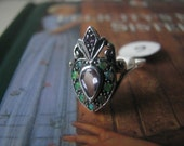 SUMMER SALE! Vintage Sterling Silver Amethyst and Australian Green Fire Opal Victorian Style Ring Estate Jewelry