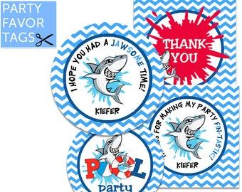 Shark Tags - Shark Party Favor Tags, Shark Party Tags, Shark Party Printables, Shark Party Decorations, Shark Decor