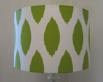 Bright Green Spots On White Background Drum Lampshade - Suits UK & European Light Fittings
