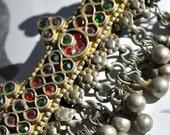 Silver Hair Clip, Tribal Barrette, Gypsy Bellydance Kuchi Pendant, Tassel Bun Holder, Ponytail Holder