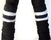 Black and White Striped Leg Warmers Long Legwarmers Dance Yoga Pilates Soft Leggings Leggins Boot Socks Indie Goth Rocker Rave Cute Socks