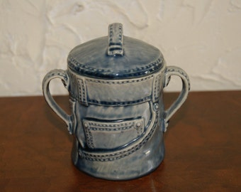 Collectible Ceramic Sugar Bowl With Denim Jeans Motif Unmarked Jeans Label On Side Reads SUGAR