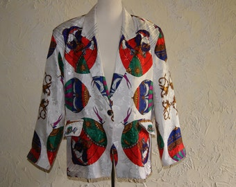 Vintage 1980s METRO HIGH FASHION Ladies Jacket With Multi Color Balloon Motif Size Large