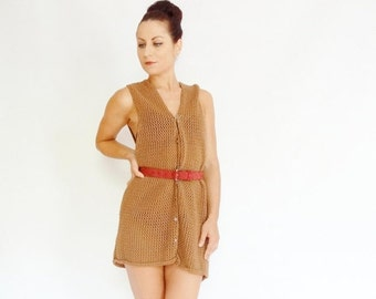 50% OFF LIQUIDATION SALE light brown knitted eyelet buttoned 80's retro vintage draped sweater dress