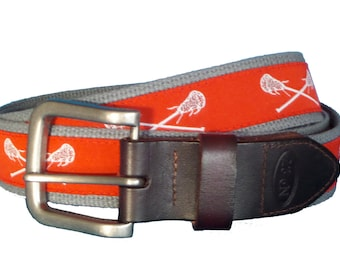 White Lacrosse on Red Leather Belt / Leather Belt / Canvas Belt / Preppy Webbing Belt for Men, Women and Children/Red and White Lacrosse