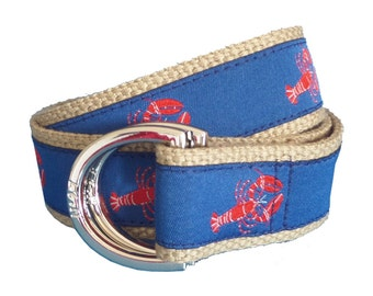 Nautical Lobster D-Ring Belt, Red Lobster Ribbon on Khaki Webbing, Adjustable Belt, Preppy Belt for Men, Women and Children