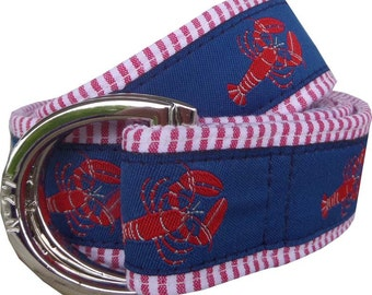 Lobster on Red Seersucker Nautical Belt/ Fabric Belt/Men's and Woman's Seersucker Belt/Lobster with Red Seersucker Fabric D-Ring Belt