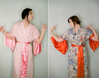 "4 custom full length lined ""Haiku"" sleeve robes dressing gowns. Made to order kimono robe Long Bridesmaid robe With pockets"