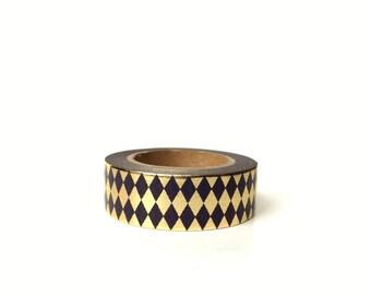 Washi Tape Harlequin Gold Foil / Black