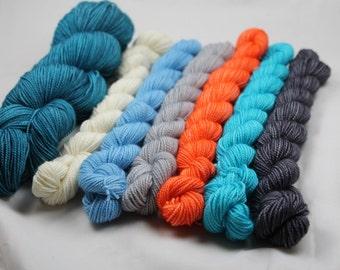 Koi Pond/Deep Shawl Set Beyond MCN Fingering Weight Sock Yarn Mini Skein Set Shawl Set