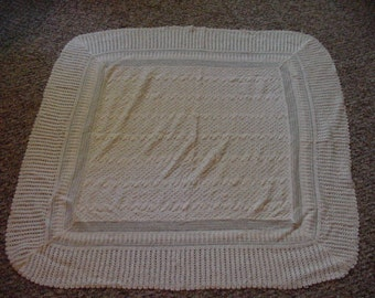 Beautiful Creamy White Baby Baptism Blanker Very Old
