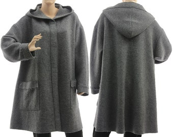 Boho hooded grey coat, hooded coat from merino boiled wool in grey, grey merino wool hoodie / lagenlook plus size women M-L, US size 12-16