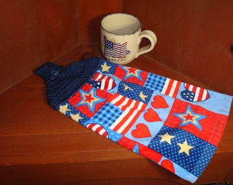 Dish Towel Patriotic Red White And Blue Flag And Star With Crocheted Topper For Hanging