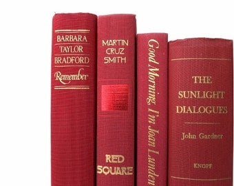 Truly Red Vintage Books / Book Decor/ Decorative Books/ Old Books/ Book Bundle/ Instant Library /Wedding Decor/Photo Prop/Home Decor