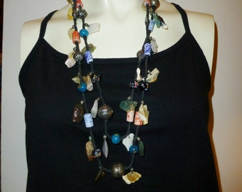 Vintage Lampwork Glass and Quartz Stone Bead Necklace