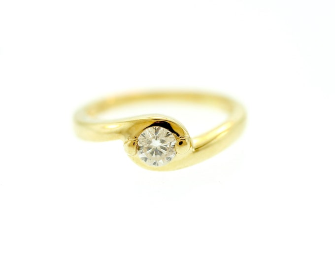 Diamond Ring--Engagement Ring--Diamond Engagement Ring--14kt Solid Yellow Gold Ring